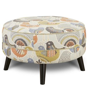 Mid Century Modern Round Cocktail Ottoman with Splayed Legs