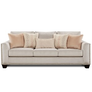 Sofa with Flared Arms and Nailhead Trim