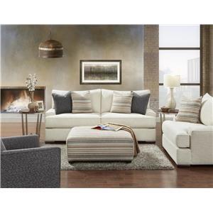 Fusion Furniture Bradley-Cream Solid Cream Sofa, Chair & Ottoman