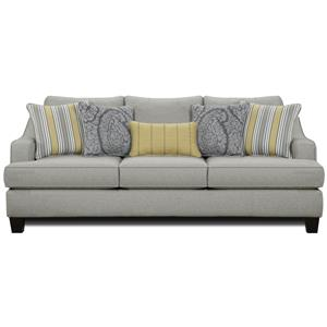 Transitional Stationary Sofa with Shapely Track Arms
