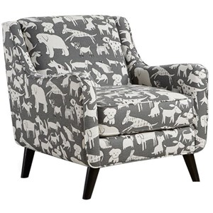 Mid-Century Modern Accent Chair with Angled Arms