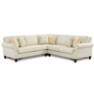 Transitional 4-Seat Sectional Sofa with Nailhead Trim