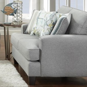 Contemporary Loveseat with Small Track Arms