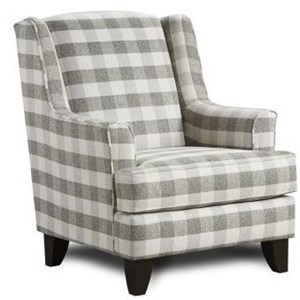Transitional Plaid Wing Back Chair