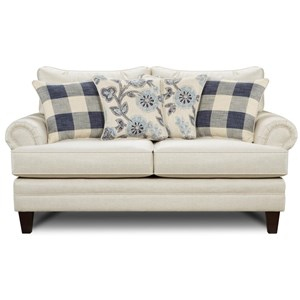 Transitional Rolled-Arm Loveseat