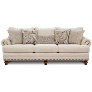 Cary's Doe Traditional Sofa with Nailhead Trim