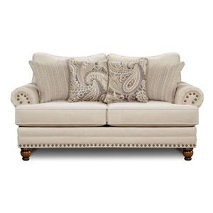 Cary's Doe Traditional Loveseat with Nailhead Trim