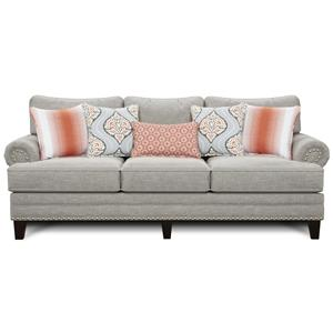 Transitional Sofa with Set-Back Rolled Arms and Nailhead Trim