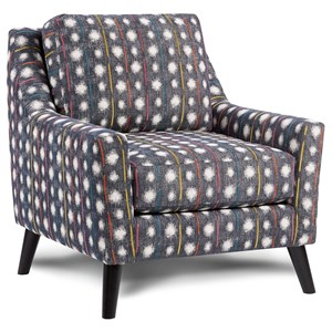 Contemporary Upholstered Chair with Curving Track Arms