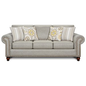 Transitional Queen Sleeper Sofa with Nailhead Trim