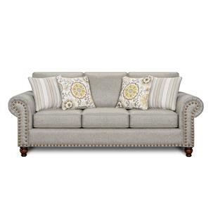 Romero Sterling  Transitional Queen Sleeper Sofa with Nailhead Trim