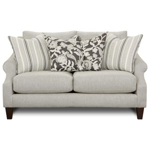 Loveseat with Rolled arms and Loose Back Cushions