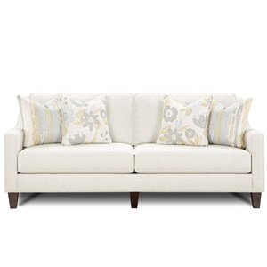 Contemporary Sofa with Tapered Wood Legs