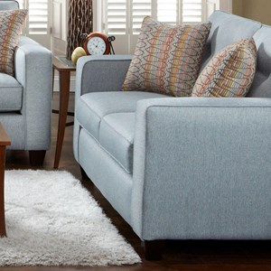 Contemporary Loveseat with Track Arms and Button Tufted Cushions