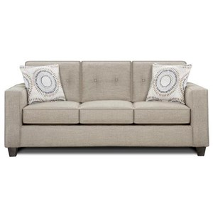 Contemporary Sleeper Sofa with Track Arms and Button Tufted Cushions