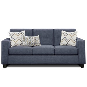 Sofa with Track Arms and Button Tufted Cushions