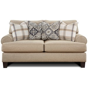 Loveseat with Rolled Arms and Reversible Cushions