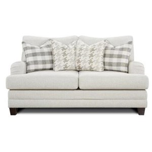 Transitional Loveseat with Setback Arms