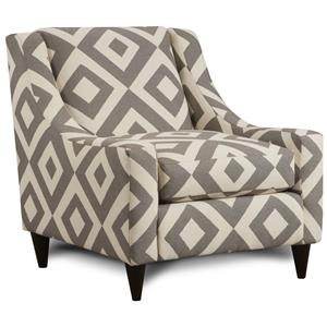 Accent Chair with Sloping Track Arms & Mid-Century Modern Feet