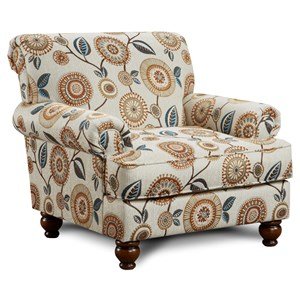 Traditional Accent Chair with Rolled Arms and Rolled Back Detail