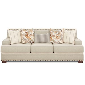 Contemporary Sofa with Track Arms and Nail Head Trim
