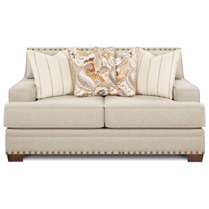 Contemporary Loveseat with Track Arms and Nailhead Trim