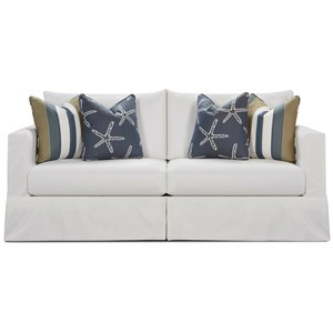 Contemporary Slip Cover Sofa in Performance Fabric
