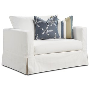 Contemporary Slip Cover Chair and a Half in Performance Fabric