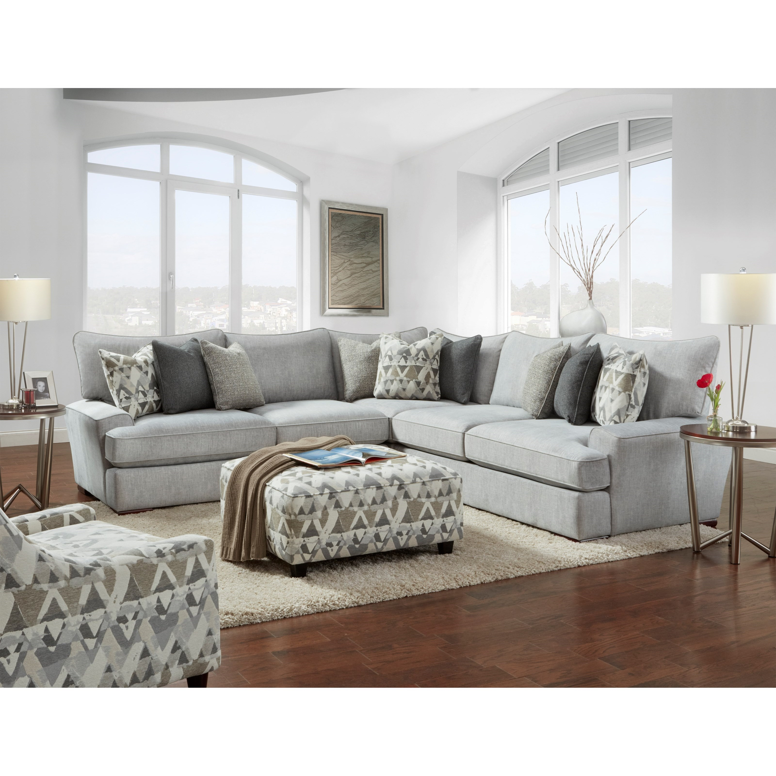 Alton Silver Stationary Living Room Group by VFM Signature at Virginia Furniture Market