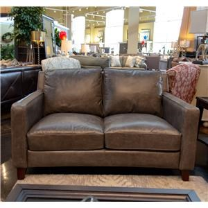 Contemporary Leather Loveseat with Track Arms