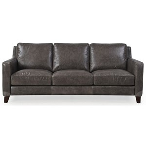 Contemporary Leather Sofa with Track Arms