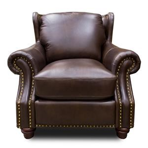 Leather Traditional Chair with Wing Back and Nailhead Trim