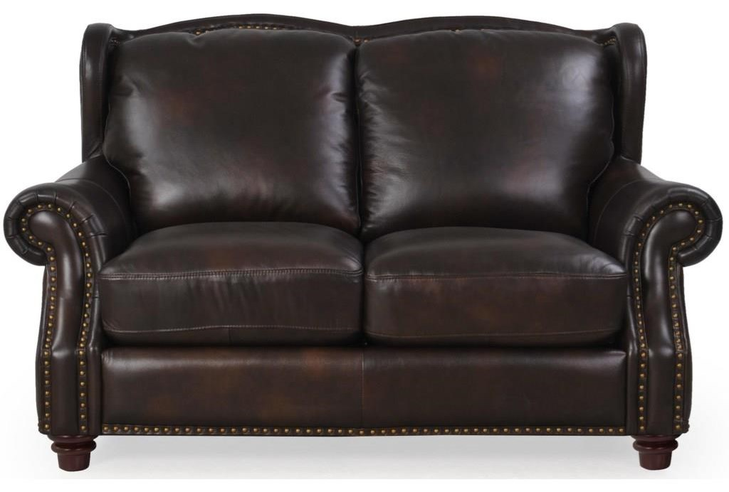 Leather Traditional Loveseat with Rolled Panel Arms