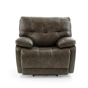 Casual Electric Motion Recliner with Pillow Arms