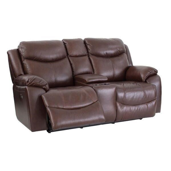 Casual Power Reclining Love Seat with Power Headrest and Storage Console