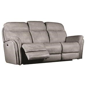 Transitional Electric Motion Leather Sofa with Pillow Arms