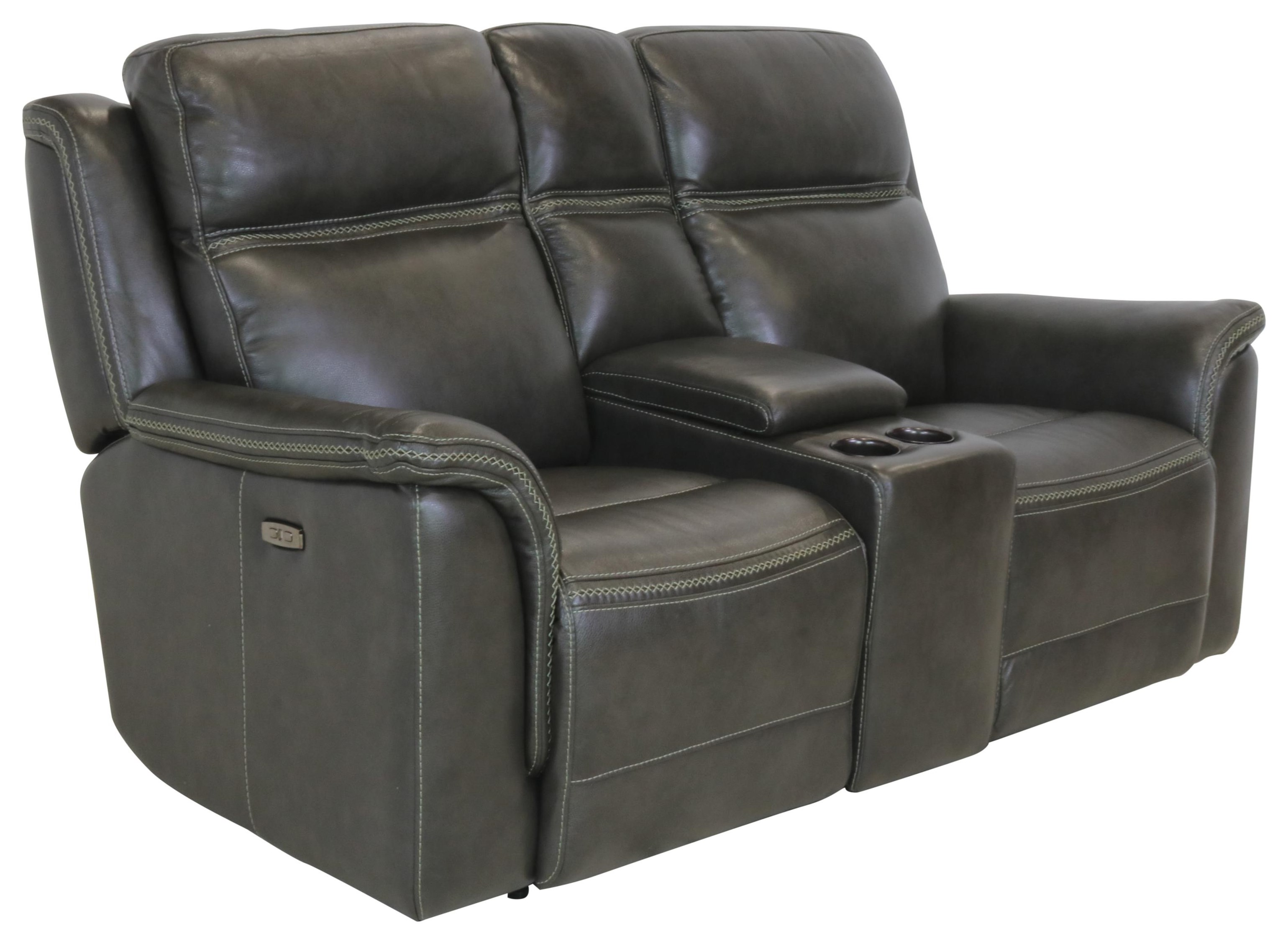 Sprintz Dante Power Loveseat with Console by Dante Leather at Sprintz Furniture