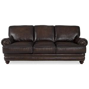 Traditional Dark Brown Sofa with Nailhead Trim