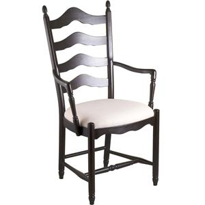 Gat Creek Dining Ladderback Arm Chair with Upholstered Seat