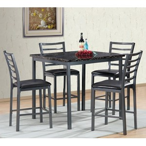 5-Piece Pub Table Set with Faux Marble Table Top