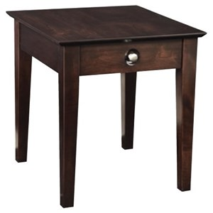 Customizable Transitional End Table with Drawer