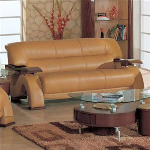 Contemporary Leather Sofa with Exposed Wood Arms