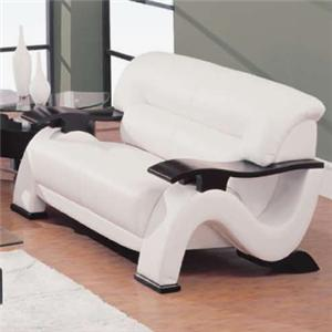 Contemporary Leather Love Seat with Exposed Wood Arms