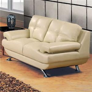 Contemporary Bonded Leather Love Seat