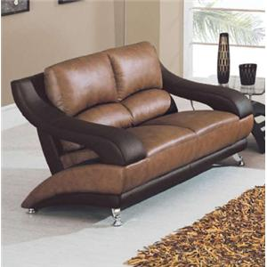 Contemporary Leather Love Seat with Metal Feet