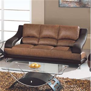 Contemporary Leather Sofa with Metal Feet