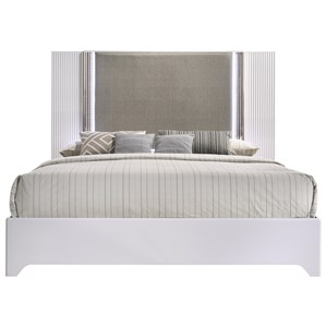 Contemporary King Bed with Metallic Upholstery and LED Lights