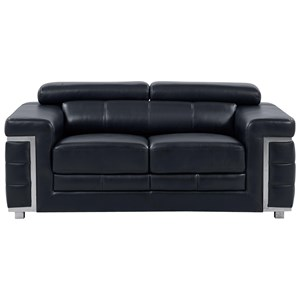 Contemporary Loveseat with Adjustable Headrest
