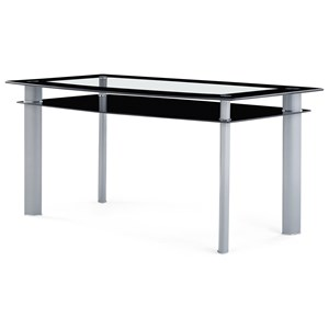 Contemporary Glass Dining Table With Black Trim