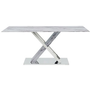 Contemporary Faux Marble Top Dining Table